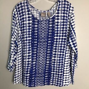 Chico's Top 3/4 Sleeve Blue White Dot Size 3 XL